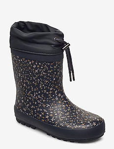 Thermo Rubber Boots - bottes en chaouthouc - greyblue flowers