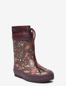 Thermo Rubber Boot - rubberlaarzen met voering - maroon flowers