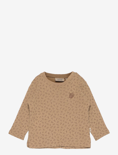 T-Shirt Acorn Embroidery - langärmelig - khaki leaves