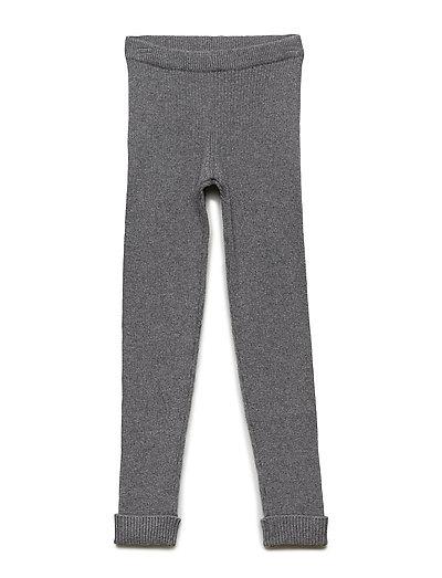 Rib Knit Leggings - DARK MELANGE GREY