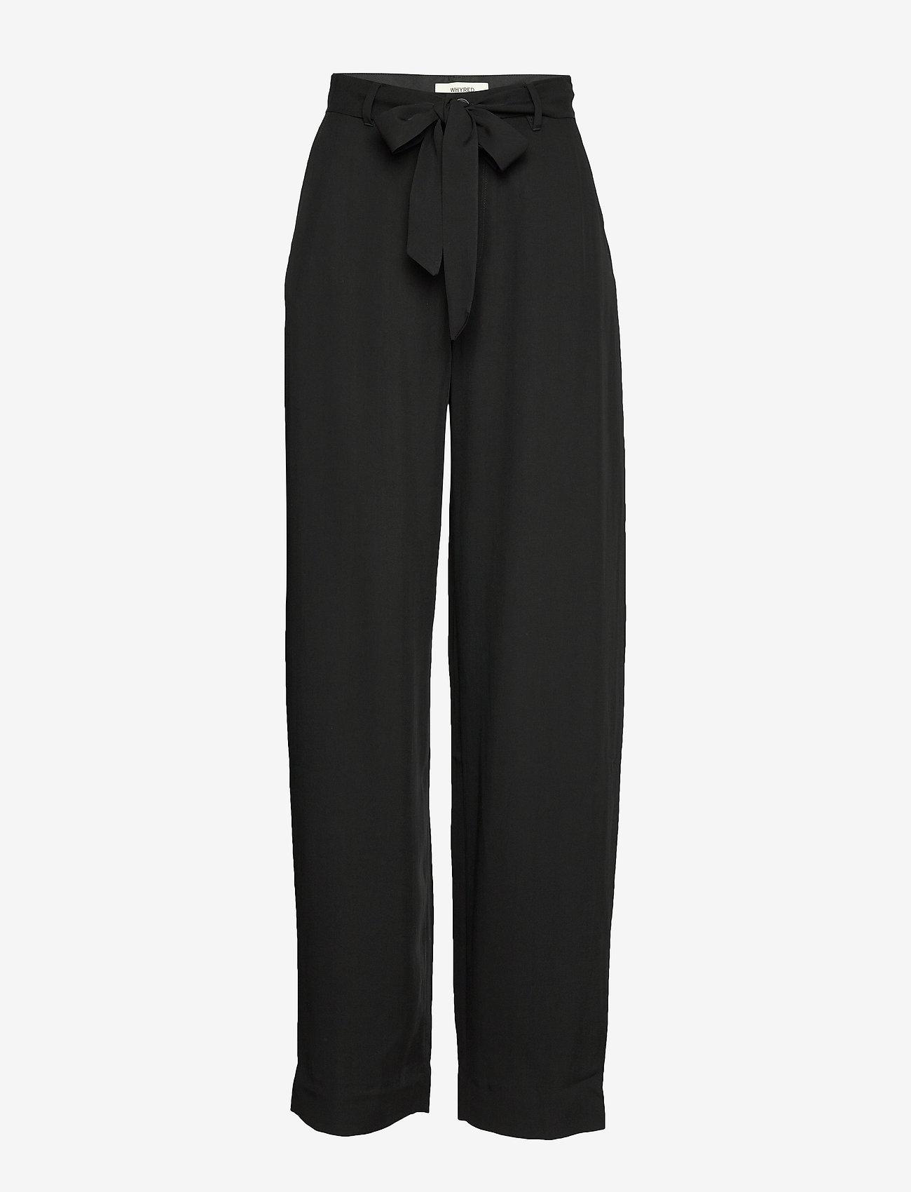 Whyred - MAXTON BELT - wide leg trousers - black - 0