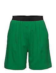 BLUE ELASTIC SILK SHORTS - FERN GREEN