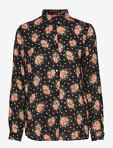 KAROLINA BLOSSOMY - long-sleeved shirts - black