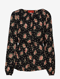 STEFANI BLOSSOMY - long sleeved blouses - black