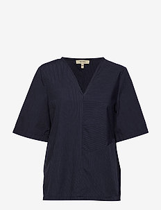 DIX SHORT STRIPE - short-sleeved blouses - classic navy