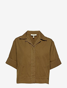 MACKENZIE SOLID - short-sleeved shirts - military brown