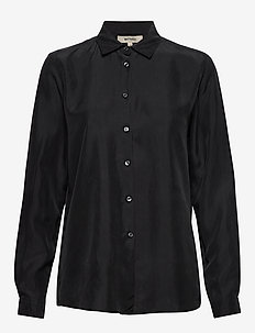 KAROLINA WASHED SILK - long sleeved blouses - black