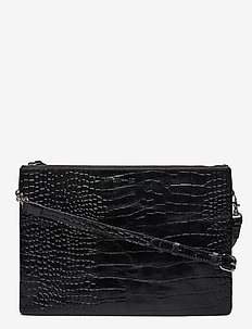 KIRA DOUBLE BIG CROCO - sacs à bandoulière - black