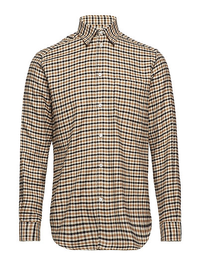 MILLS FLANNEL SMALL CHECK - DARK CAMEL