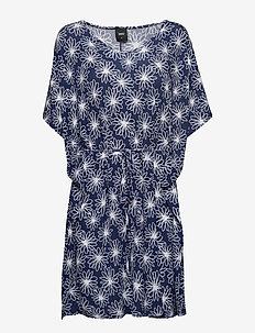 Bamboo beach poncho - FLORAL NAVY