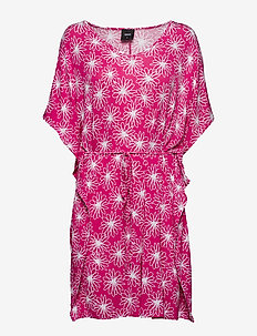Bamboo beach poncho - FLORAL PINK