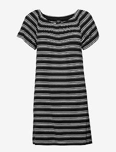 Bamboo beach dress - black-white stripe