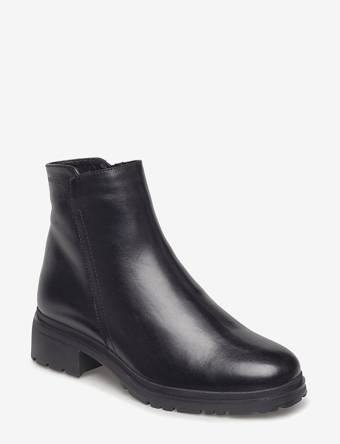 Wonders - Warm lamb fur lining C-4829-M - flat ankle boots - oregon f.m negro - 0