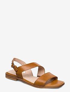 A-1407 - płaskie sandały - brown