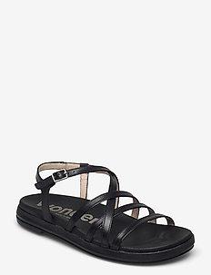 B-7412 PERGAMENA - flat sandals - black