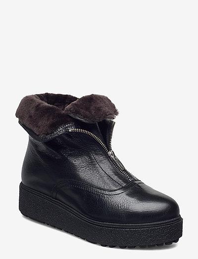 Warm lamb fur lining A-9505-M - platta ankelboots - black