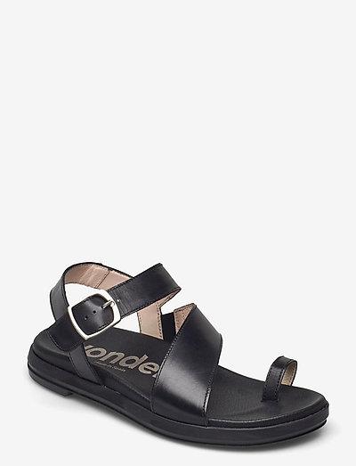B-7413 PERGAMENA - platta sandaler - black