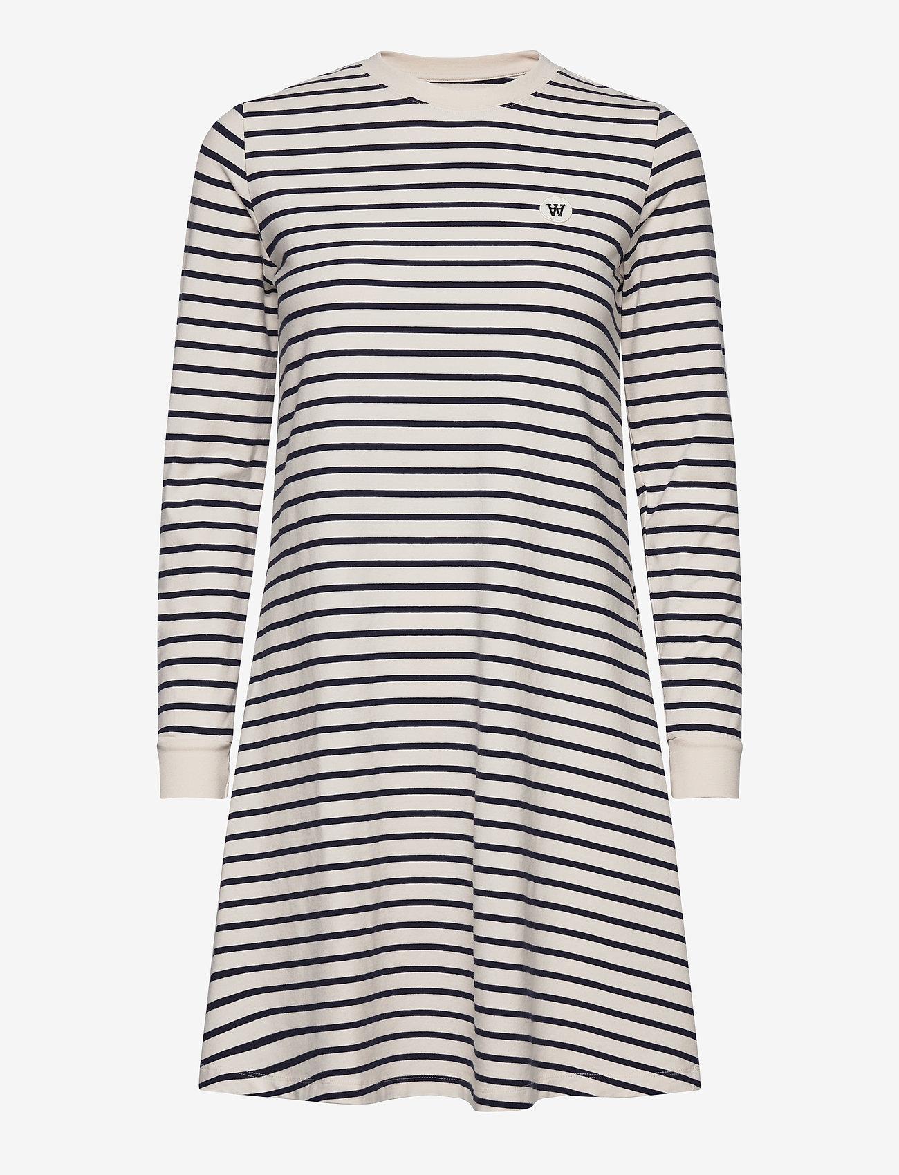 Wood Wood - Isa dress - sommerkjoler - off-white/navy stripes - 0