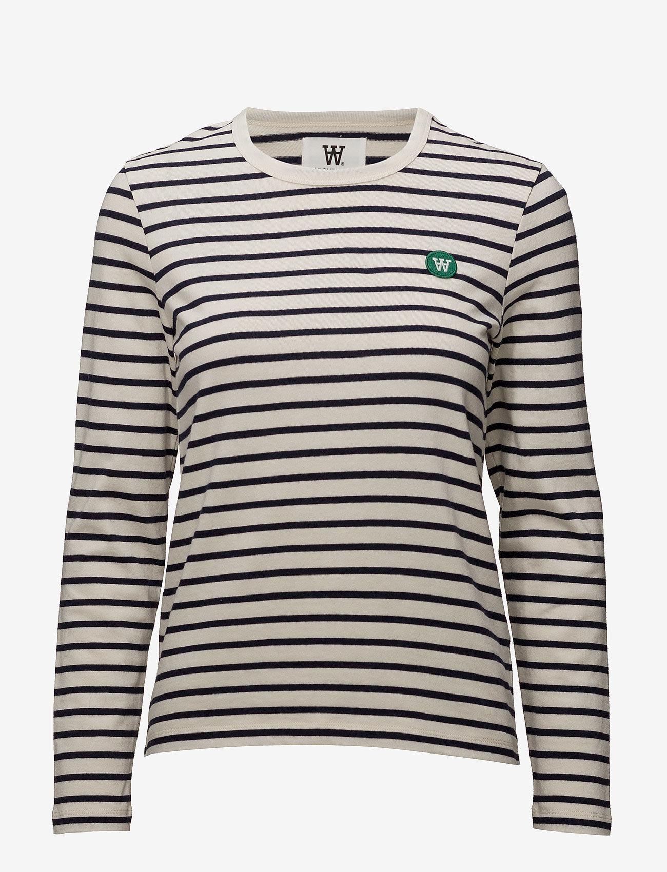 Wood Wood - Moa long sleeve - langærmede toppe - off-white/navy stripes - 0