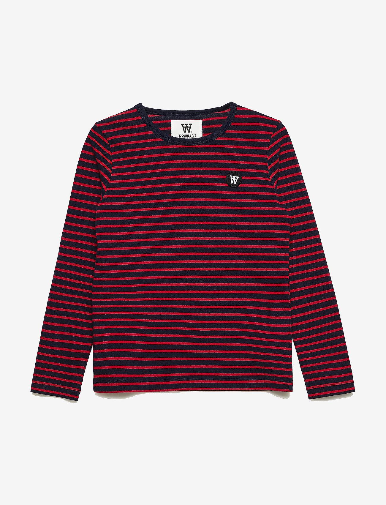 Wood Wood - Kim kids long sleeve - langärmelige - navy/red stripes - 0