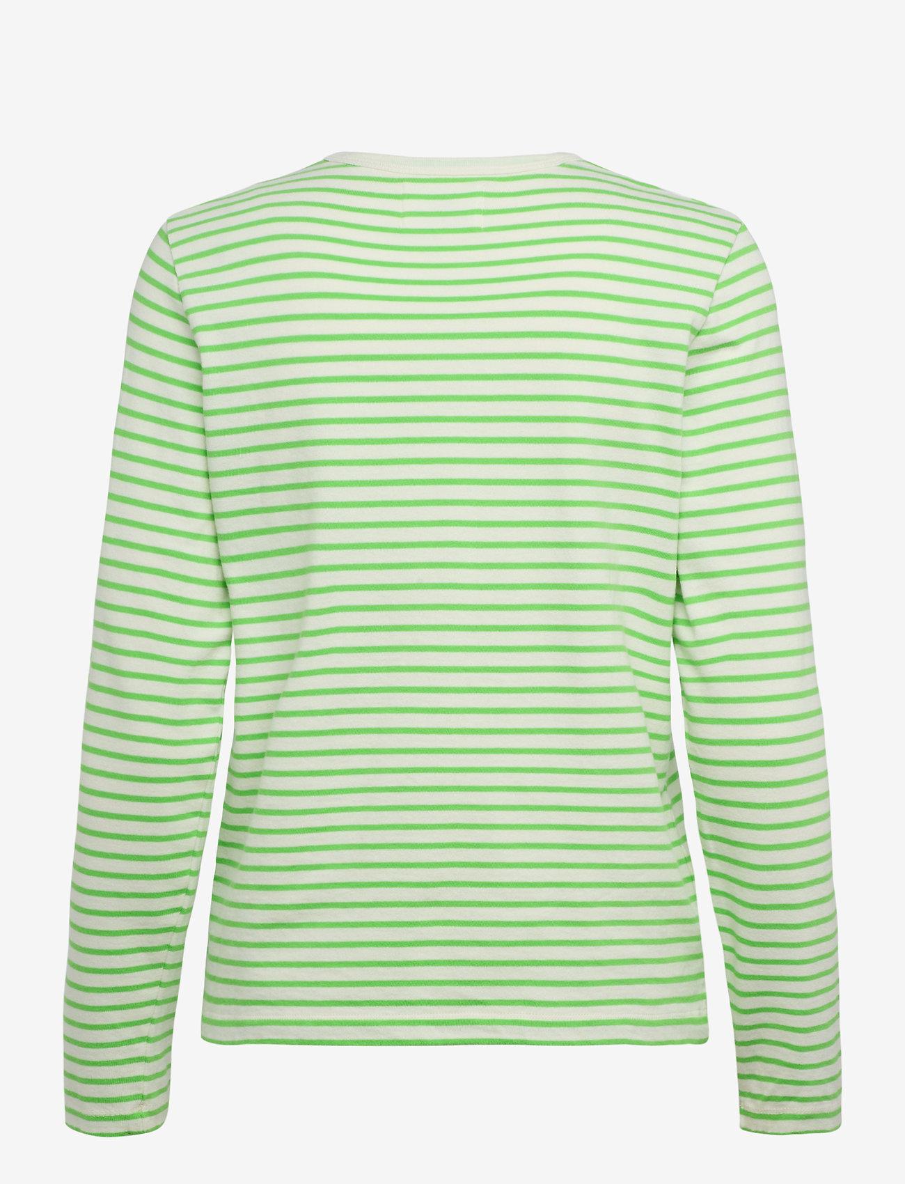 Wood Wood - Moa stripe long sleeve - langærmede toppe - off-white/green stripes - 1