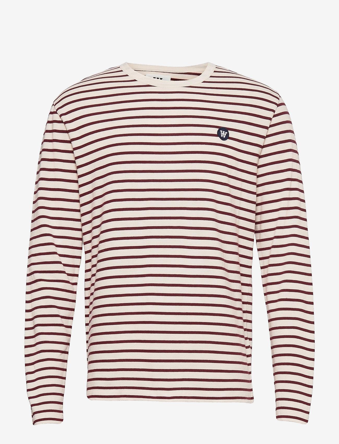 Wood Wood - Mel long sleeve - lange mouwen - off-white/dark red stripes - 0