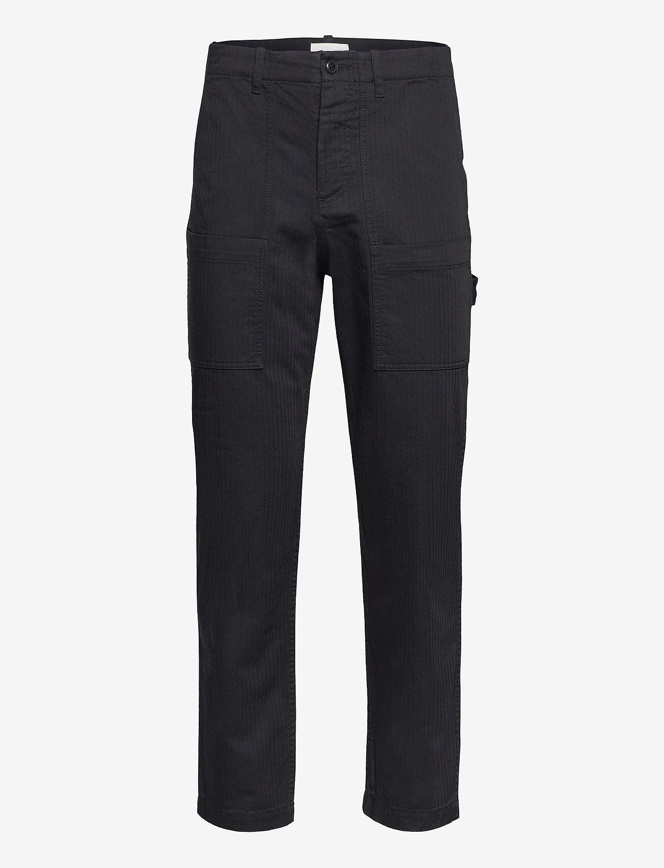 Wood Wood - Halvard trousers - cargobukser - black - 0