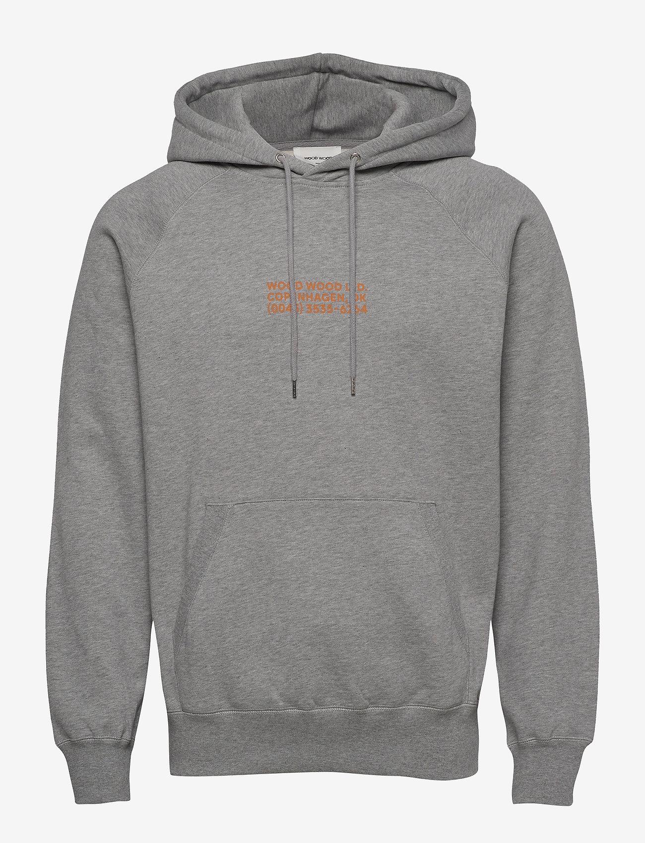 Wood Wood - Fred hoodie - basic sweatshirts - grey melange - 0