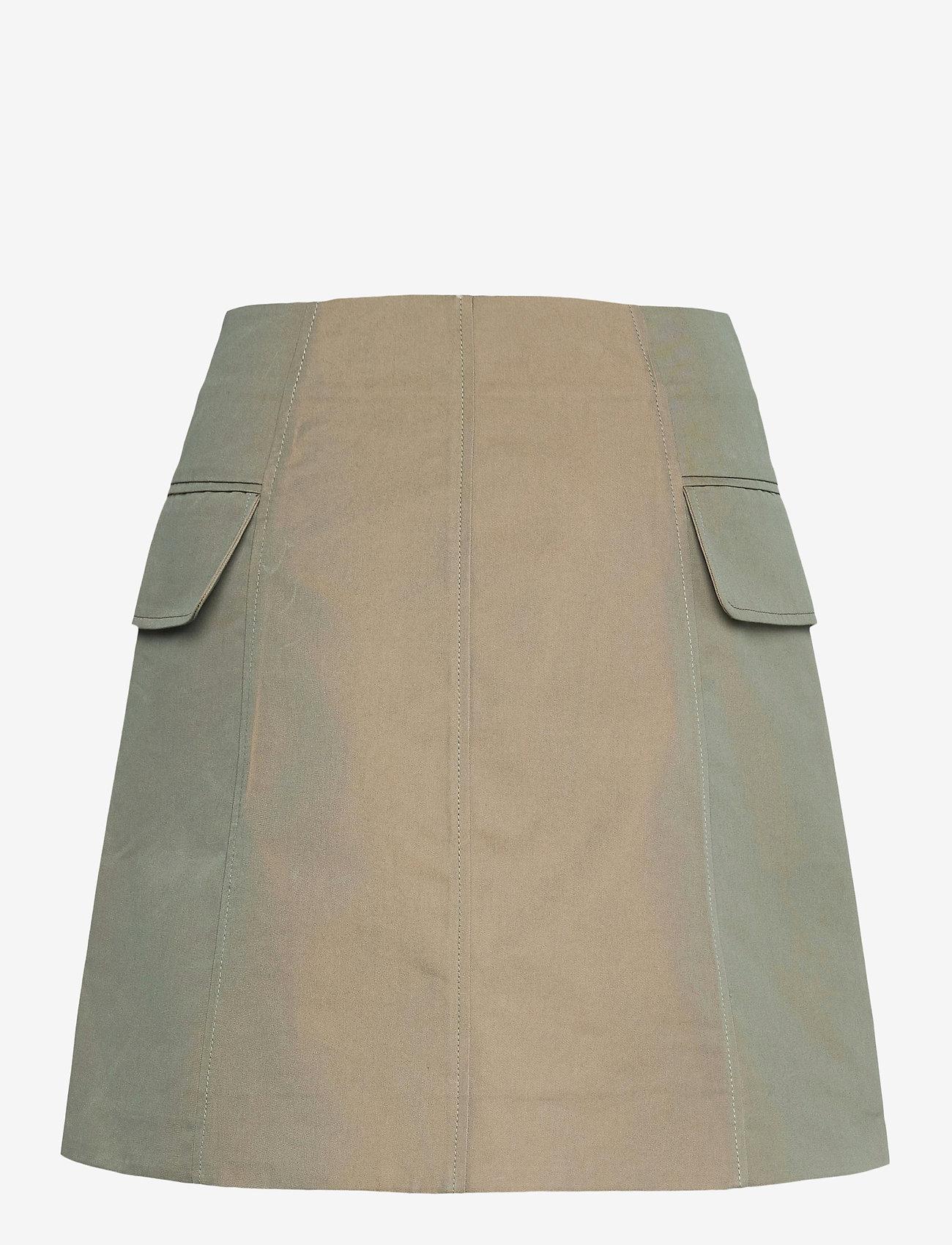 Wood Wood - Lotte iridescent twill skirt - korta kjolar - olive - 1