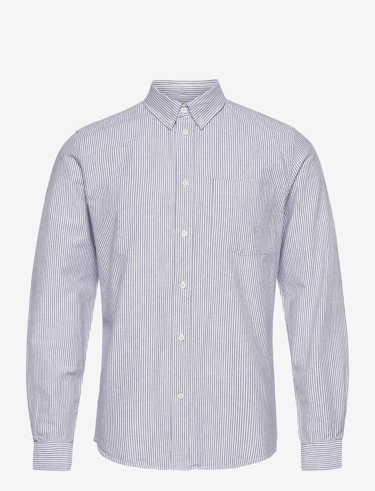 Wood Wood - Adam oxford shirt - linnen overhemden - blue stripes - 0