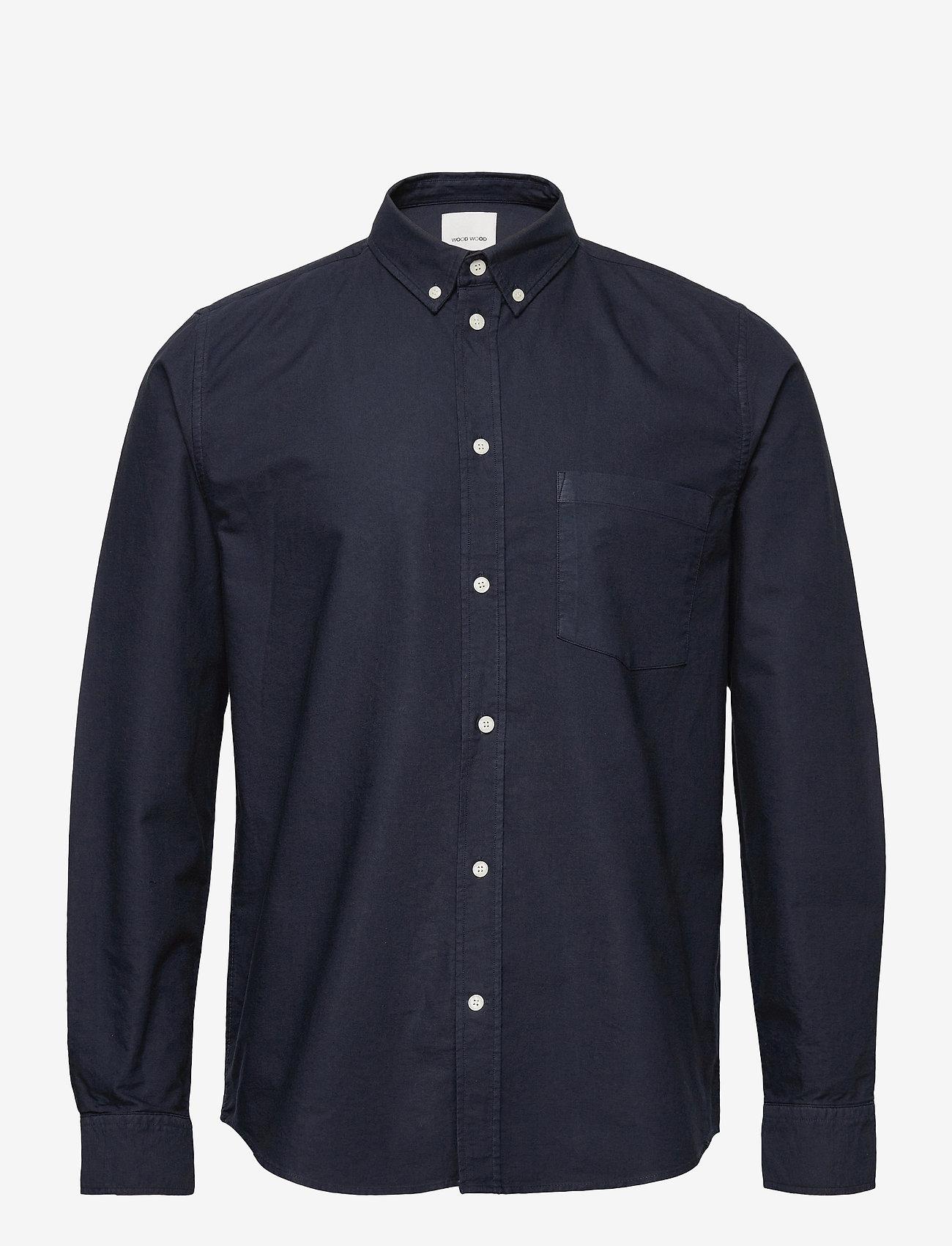 Wood Wood - Adam oxford shirt - linnen overhemden - navy - 0