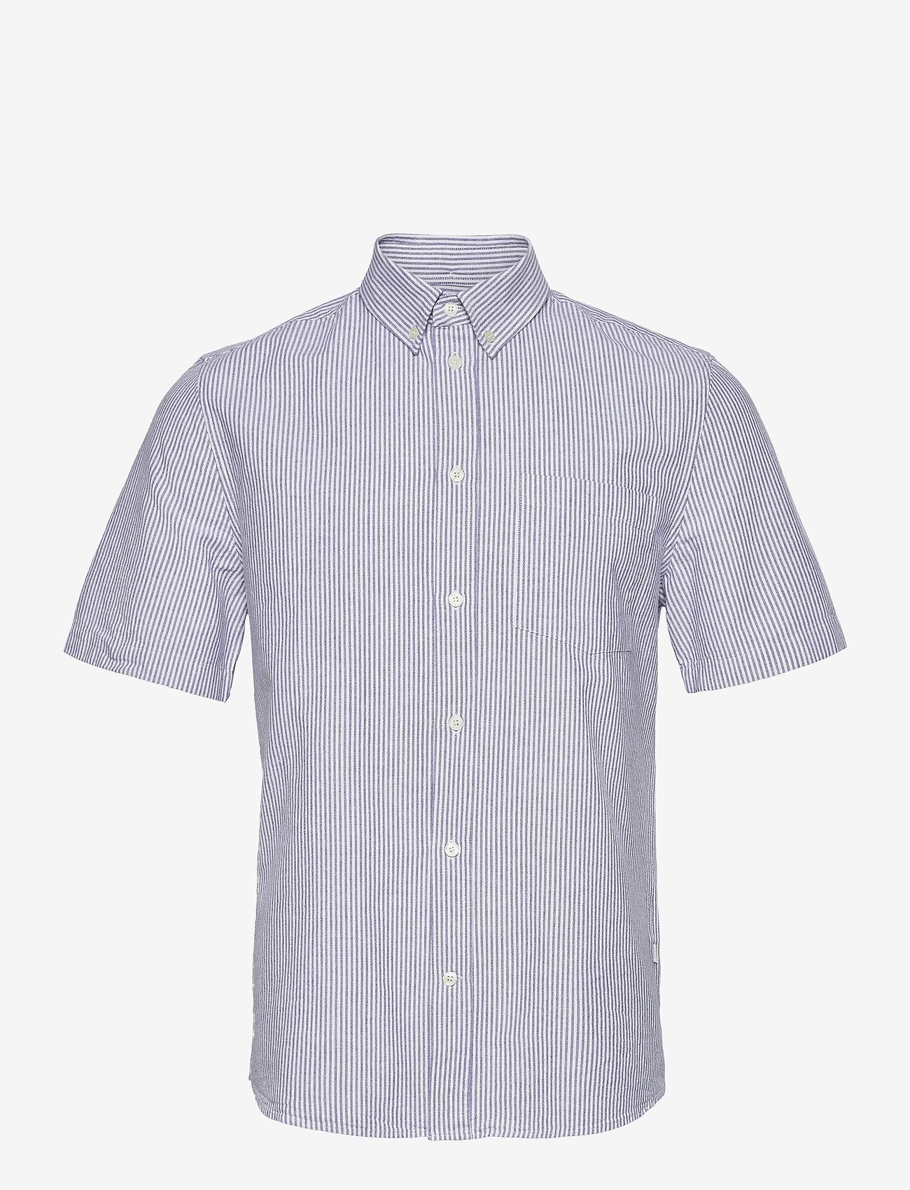 Wood Wood - Michael oxford shirt SS - linnen overhemden - blue stripes - 0