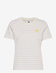 Wood Wood - Mia T-shirt - t-shirts - off-white/lilac stripes - 0