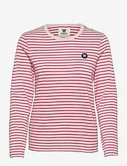 Wood Wood - Moa stripe long sleeve - langærmede toppe - off-white/pink stripes - 0