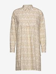 Wood Wood - Janica dress - skjortekjoler - beige aop - 0