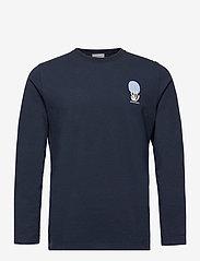 Wood Wood - Peter fruit long sleeve - t-shirts basiques - navy - 0