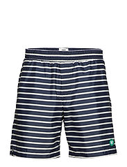 Roy swim shorts - NAVY/OFFWHITE STRIPE