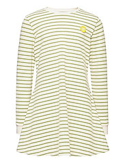Aya dress - OFF-WHITE/OLIVE STRIPES