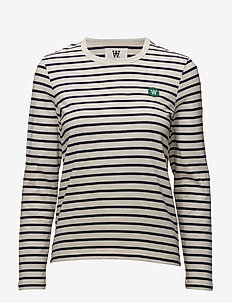 Moa long sleeve - tops met lange mouwen - off-white/navy stripes