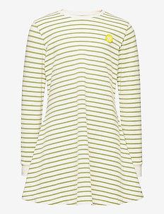 Aya dress - kleider - off-white/olive stripes
