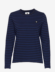 Moa long sleeve - stribede t-shirts - navy/blue stripes
