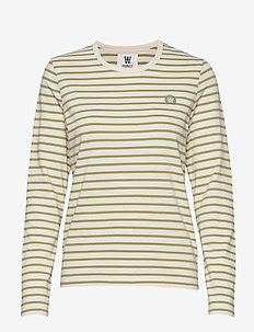 Moa long sleeve - stribede t-shirts - off-white/olive stripes