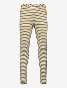Ira kids leggings - leggings - off-white/olive stripes