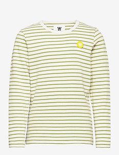 Kim kids long sleeve - long-sleeved t-shirts - off-white/olive stripes