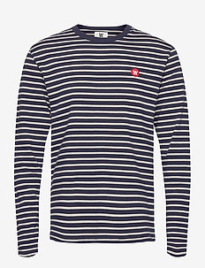 Mel long sleeve - long-sleeved t-shirts - navy/off-white stripes
