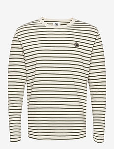 Mel long sleeve - lange mouwen - off-white/green stripes