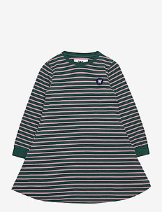 Aya kids dress - kjoler & nederdele - faded green/rose stripes