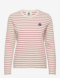 Moa long sleeve - langærmede toppe - off-white/rose stripes