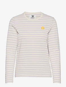 Moa long sleeve - langærmede toppe - off-white/lilac stripes