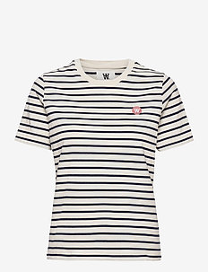 Mia T-shirt - t-shirts - off-white/navy stripes